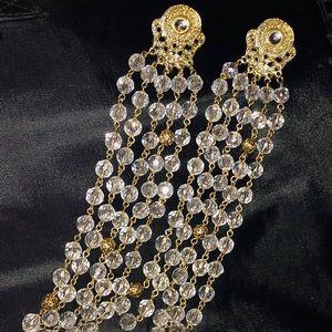Gold & Crystal Chandelier Gypsy Statement Earrings